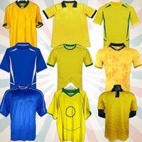 Jerseys rétro Brasil Soccer 1994 1998 2002 Rivaldo / R. Carlos Brasil Football Jerseys Shirt