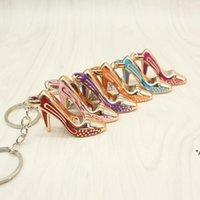 Favor de fiesta zapatos llavero bolso colgante bolsas coches zapato anillo de zapatos cadenas llaveros anillos para regalos mujeres acrílico tacón alto HHB8577