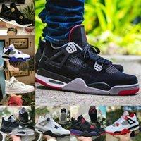 Verkauf 2021 Neue gezüchtete Black Cat 4 4s Basketballschuhe Männer Herren Weiße Zement Encore Wings Feuer Roter Singles Designer Sneakers IV Pure Money Trainer G17