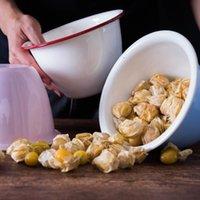 Kaseler Porselen Emaye Karıştırma Noodle Kase 1.3L 1.5L Meyve Salatası Tatlı Bakeware Pirinç Restoran Japon Ev Tencere