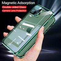 360 보호용 양면 유리 자기 금속 케이스 아이폰 12 11 Pro x XS 최대 XR 카메라 렌즈 보호 자석 덮개
