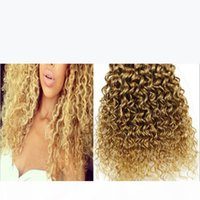 9A barato brasileño profundo rizado miel rubia cabello humano 3pcs lot # 27 strawbery rubio brasileño virgen humano pelo profundo tejido rizado paquetes