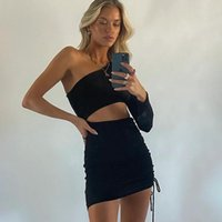 Casual Dresses 2021 Hollow Out Long Sleeve One Shoulder Sexy Bodycon Dress Black Side Drawstring Mini Bandage Women Autumn Party Club Wear