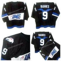 Navio de US Adam Banks # 9 Poderosos patos Hóquei Jersey Hawks Team Filme Masculino Costurado Black Quality Jerseys