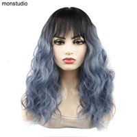 Perucas sintéticas jeendou cabelo médio cabelo bate água onda de água preto escuro ombre cor peruca mulher