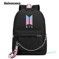 الكورية الأزياء BTS Bangtan الأولاد إلكتروني حقيبة الظهر حب نفسك USB شحن حقيبة سفر للمراهق البنات الشريط سلاسل المدرسية
