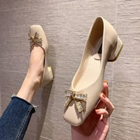 Thick single flat middle square head low heel soft bottom fairy granny evening wind gentle shoes women's