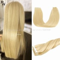 """MW Blonde Mini Tape In Extensions Hu 100% Real Machine Remy Hair Adhive Seamls Weft Highlights Color 12""""-24"""""""