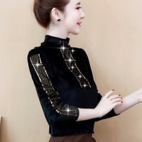Women's Sweaters Black velvet woman's gold piercing semi-high collar autumn and winter western style small shirt UB1E