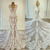 Se genom sjöjungfrun kvällsklänning 2021 spets approaches formella prom klänningar knappar tillbaka sexig vestido de novia