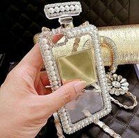 DIY Elmas Kristal Sevimli Inci Parfüm Şişesi Şekilli Zincir Çanta Kılıf Kapak Samsung S8 S9 S10 S20 S21 Artı Not 5 8 9 10 20 Kılıfları