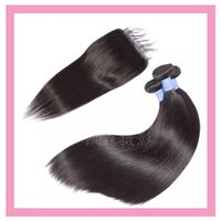 Peruvian Virgin Human Hair Silky Straight Two Bundles With 6X6 Lace Closure Natural Color 3Pcs Wholesale