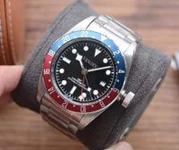 컬러 푸르 트리플 - 날짜 블랙 다이얼 자동 M79030B 망 시계 레드 도자기 베젤 실버 스틸 케이스 팔찌 럭셔리 시계