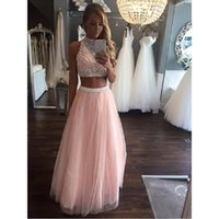 Party Dresses Pink Sparkly Two Piece Prom Dresss 2021 Vestidos De Gala Beaded Crystal A Line Special Occasion Dress Formal Women Gowns