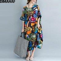 Dimanaf Delle Donne Dress Plus Size Summer Summer Pattern Stampa Biancheria Biancheria Colorata Femmina Allentato BATSWING Casual Retro Vintage Abiti di grandi dimensioni