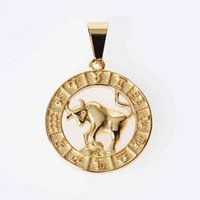 Jeroot Wholesales Stainless Steel 12 Horoscope Pendant Zodiac Sign Jewelry 12 Constellations Necklace 210426