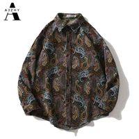 Ajzhy Camisa Vintage Casacos Mens de Manga Longa Botão Up Solta Oversize Winter Casaco Casual Moda Harajuku Hip Hop Roupas 210410