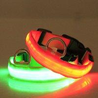 LED Luminous Pet Dog Collars 2.5 CM Stripe Optical Włókna Silk Enter Luminly Collar do wszystkich rozmiarów Psy 6 kolorów do wyboru