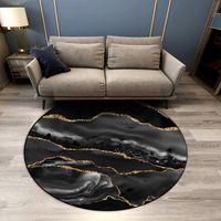 Carpets Black Gray Marble Coffee Table Rug Round Non-lip Chair Mat Bedroom Carpet Decorative Luxury Floor Dining Room Hallway