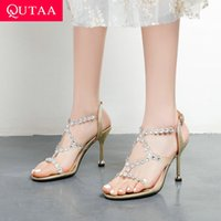 Thin High Heel Buckle Women Shoes Open Toe Summer Sexy Female Pumps Crystal PVC Cut Outs Sandals Big Size 34-43 210515