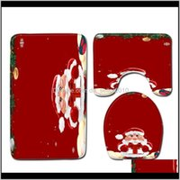 Aessórios Garden Drop entrega 2021 3 pcs Christmas Bathroom Tapete Conjunto Duche Banheira Mat Home Decoração Anti Slip WC LID Tapete Tapetes Si