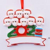 2021 Ornamento de Natal DIY nome de bênção máscara boneco de neve árvore de natal pingente hwe8085
