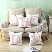 Kudde bokstäver rosa blommig dekorativa kuddar kuddväska polyester kudde kudde kuddar soffa dekoration kudde