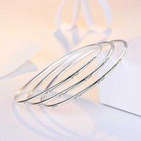 925 Silver Plated 3pcs set Bangles Star Design Bracelets Fashion Jewelry For Women