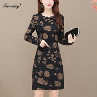 Long Sleeve Women Sexy Slim Dress 2021 Autumn Floral Lady Mini Clothes O-Neck Straight 4XL Plus Size Bodycon Casual Dresses