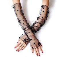 Par mulheres verão fishnet função dupla seda luvas anti-UV lace malha mangas braço capa protetor solar sleeve cinco dedos