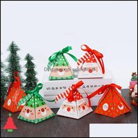 Gift Event Festive Home & Gardengift Wrap 30Pcs Ribbon Kids Favors Merry Christmas Candy Cookie Box Xmas Bags Paper Party Supplies Drop Deli