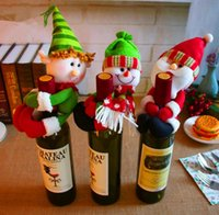 XMAS Decorations Red Wine Bottles Cover Bags bottle holder Party Decors Hug Santa Claus Snowman Dinner Table Decoration Home Christmas SN2976