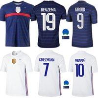 2021 2 نجوم Soccer Jerseys Mailleots Mailleot Equipe de French 20 21 Benzema Mbappe Grizmann Kante Pogba Jersey قميص الحجم S-4XL