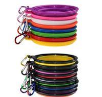 Feeder Sile-Welpe-zusammenklappbare Schüssel Haustier-Fütterungsschalen mit Kletterschnalle Outdoor-Reise tragbarer Hundefutter-Behälter DHE154 Wblk Iwvuw