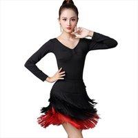 Stage Wear Ly Autumn Latin Costumes Women Performance Dance Clothing V-neck Mid-length Sleeve Dress Tassel Tunic