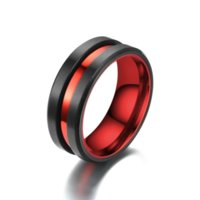 Contrast Color Red Groove Ring Band Finger Stainless steel Rings women men fashion jewelry will and sandy