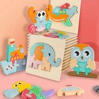 جديد وصول لغز خشبي 3D المبكر ألعاب تعليمية ألعاب خشبية للأطفال فهم الكرتون الاستخبارات مونتيسوري اللغز