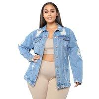Women's Jackets Casual Jeans Jacket Sexy Women Blue Denim Ripped Coat Lady High Street Outerwear