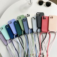 Crossbody Necklace strap Lanyard Cord Liquid silicone phone case for iphone 12 MiNi 11 Pro X XR XS Max 6s 7 8 plus SE Soft cover