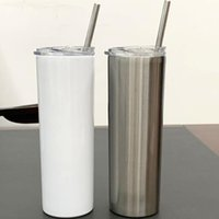 DIY mug 20oz Sublimartion Straight tumblers with Steel Straw Rubber Bottoms Stainless tumbler Coffee Sublimation Blanks Water Bottle
