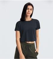 قمم اليوغا قميص القطن الرياضية عارضة قصيرة الأكمام تي شيرت تمرين داخلي التجفيف السريع تنفس أعلى للنساء