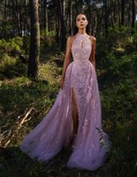 Lavender 2022 Overskirts Lace Evening Dresses Beaded Keyhole Neck Split Prom Gown With Detachable Train Long Formal Party Gowns