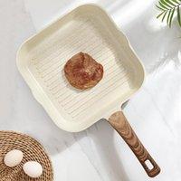 Pan fríe de filete Recubrimiento de piedra antiadherente Cocina Cocina Desayuno Forma cuadrada con cubierta de madera Griddles Parrilla