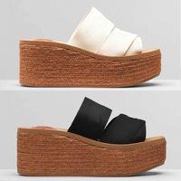 Designer Femmes Pantoufles Woody Wedge Mule Plate-forme Glyn Plateforme Espadrille Lettre d'impression Blanc Sandal Sandal High talons hauts Chaussures de fond en caoutchouc plat 292