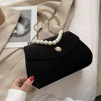 NEW Elegant Velvet Designer Bag Women Shoulder Bag Fashion Party Pearl Chain Crossbody Bags Handbag Evening Bags for Lady