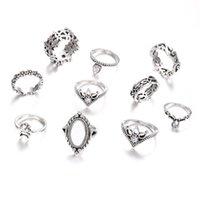 Trouwringen 10 stks / set oogverblindende opaal kristal maan vinger ring set retro kroon steen gewricht voor vrouwen sieraden accessoires geschenken 3514 Q2