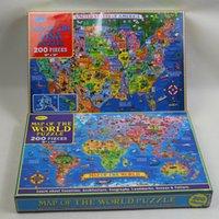 200 Stück Puzzle The World Map USA Map Kids Erwachsene Unterricht Komplette Geographie Familie Spaß Shapes-Geschenke für Freunde