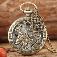 Pocket Watches Bronze Butterfly And Flower Retro Style Necklace Watch Chain Steampunk Pendant Quartz Fob Clock With Accessory 2021
