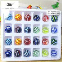 16mm Handmade Glass Marbles Balls Charms Home Decor Accessories for Fish Tank Vase Aquarium Game Toys for Kids Children 24pcs Q0525