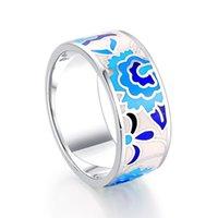 Cluster Rings SJF EnamelJewelry 7.6mm Wide Wedding Band Blue Flower Enamel 925 Stealing Silver Ring For Woman Men Party Gift 2021